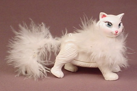 Barbie Posh Pets White Mother Cat With Fuzzy Tail & Feather Boa Figure, 2003 Mattel