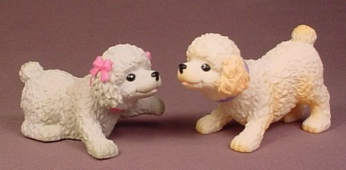 Barbie I Love Pets Pair Of Bobble Head Poodle Dogs, 3 Inches Tall, Bobbling Wedding J1783