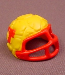TMNT Yellow & Red Football Helmet Accessory For A 1991 T.D. Tossin' Leo Action Figure
