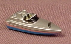 Micro Machines 1987 Speed Boat, Type 2, Silver With Blue & Pink,  Galoob