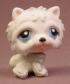 Littlest Pet Shop 384 White Gray Chow Chow Puppy Dog With Blue