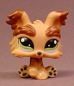 Littlest Pet Shop 1016 Tan Brown Yorkshire Terrier Puppy Dog With
