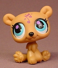 Littlest Pet Shop #2881 Brown Polar Bear With Purple & Blue Eyes, Music  Note On Forehead