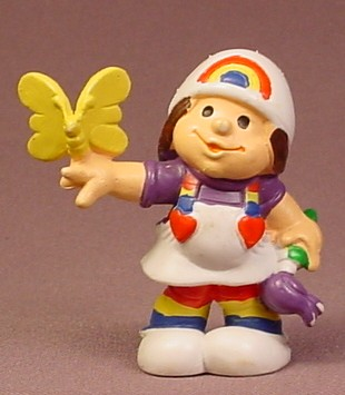 Rainbow Brite Kids Girl With Paint Brush & Butterfly PVC Figure, 2 1/2 Inches Tall, 1980