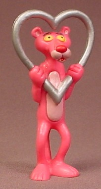The Pink Panther Holding A Silver Heart PVC Figure, 3 Inches Tall, 1989, Valentines