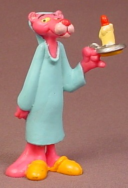 The Pink Panther In A Nightgown & Cap Holding A Candle PVC Figure, 3 Inches Tall, 1989