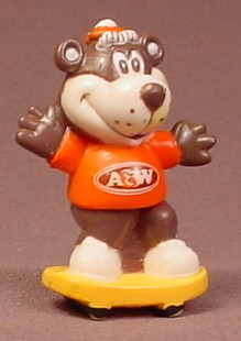 A&W Restaurant Bear On A Skateboard PVC Figure, 2 Inches Tall, Advertising Promotional