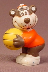 A&W Restaurant Bear On With A Basketball PVC Figure, 2 Inches Tall, Advertising Promotional
