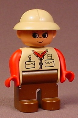 Lego Duplo 4555 Male Articulated Figure With Tan Vest & Pith Helmet Hat, Red Arms