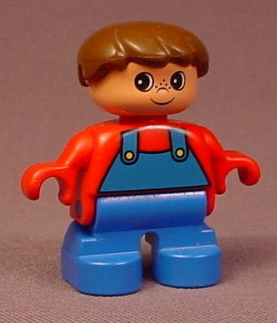 Lego Duplo 6453 Boy Child Articulated Figure, Brown Hair, Blue Overalls Over A Red Shirt