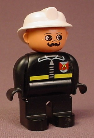 Lego Duplo 4555 Male Articulated Figure With White Helmet, Moustache, Black Clothes