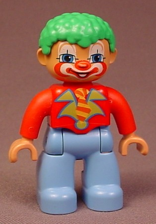 Lego Duplo 47394 Clown Articulated Figure, Green Hair, Face Paint, Red Shirt, Light Blue Pants