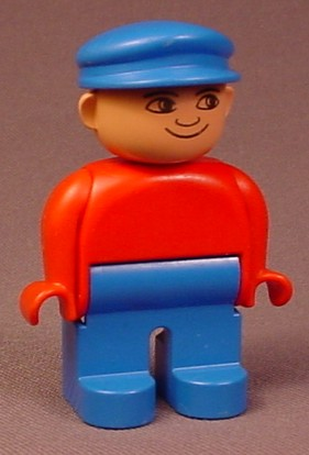 Lego Duplo 4555 Male Articulated Figure, Blue Cap Hat & Legs, Red Shirt, Train