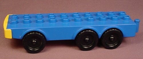Lego Duplo 2021 Blue Truck Base With 6 Black Wheels & Hitch, 4X10, 7 Inches Long
