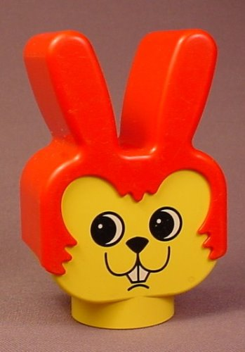 Lego Duplo 2303 Yellow 2X4X3 Rabbit Figure Head, No Whiskers, Red Ears, Face Pattern