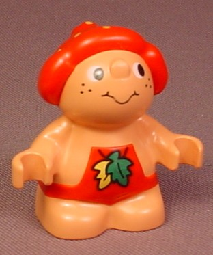 Lego Duplo 31232 Forest Friends Male Figure In Red Overalls With Leaves Pattern, Baby Jelly