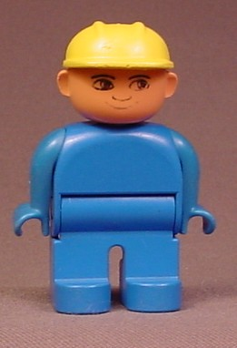 Lego Duplo 4555 Male Articulated Figure With All Blue Clothes & Yellow Hardhat