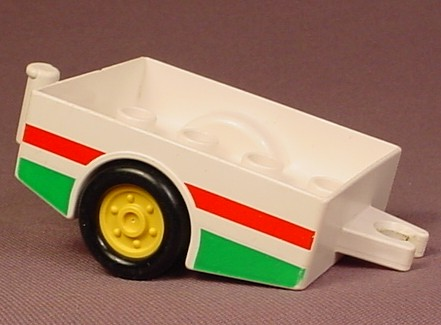 Lego Duplo 6505 White Trailer Vehicle With Black & Yellow Wheels, Red & Green Stripes