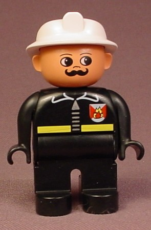 Lego Duplo 4555 Male Articulated Fireman Figure With Moustache And Helmet, Black Suit