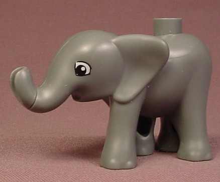 Lego Duplo 6502 Dark Gray Baby Elephant Animal Figure With Eyes Pattern, Pointed Ears