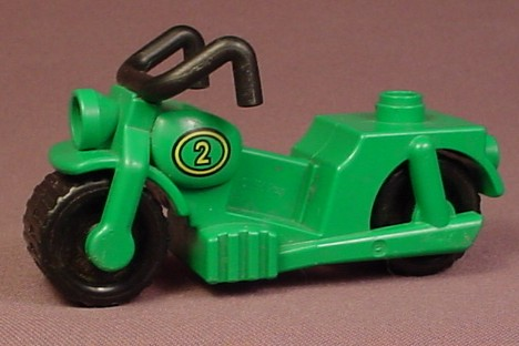 Lego Duplo 2126 Green Motorcycle With A #3 In A Gold Circle Pattern, Black Wheels