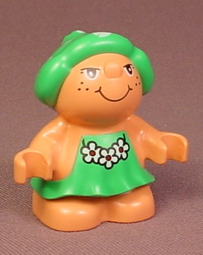 Lego Duplo 31232 Forest Friends Female Figure In A Green Dress With White Flowers Pattern