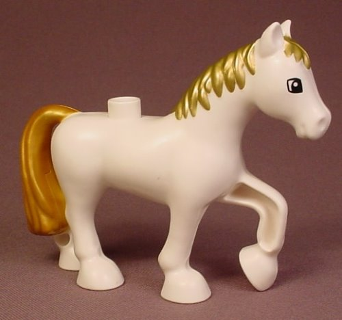 Lego Duplo 3426 White Horse With Gold Mane & Tail, Raised Hoof, Disney