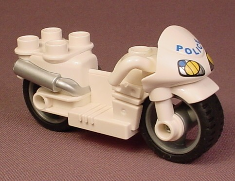Lego Duplo White Police Motorcycle With Silver Exhaust Pipes, Blue Police & Headlights