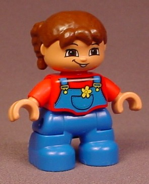 Lego Duplo 47205 Girl Child Articulated Figure With Brown Hair In A Ponytail, Blue Overalls