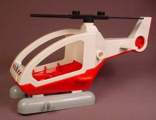 Lego Duplo 1314 Red & White Helicopter With Gray Pontoons & Black Rotor Blade That Turns