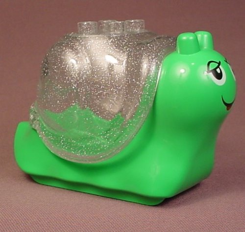 Lego Duplo 31229 Bright Green Snail Animal Figure With A 31230 Clear Glitter Snail Shell