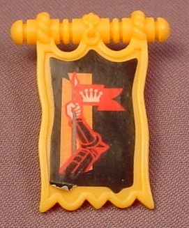 Fisher Price Imaginext Clip On Gold Knight Pennant Banner Flag, 78333 Battle Castle Set, 2003