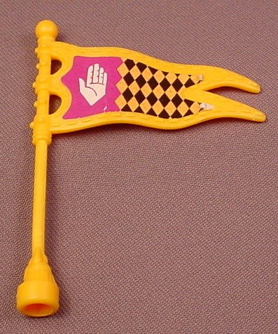 Fisher Price Imaginext Yellow Flag Pennant With Clip On Mast, Hand & Diamonds Pattern