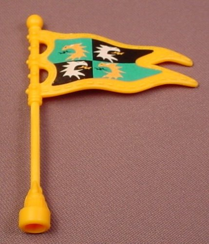 Fisher Price Imaginext Yellow Flag Pennant With Clip On Mast, Dragons Pattern, 78333