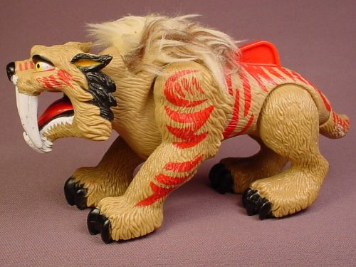 Fisher Price Imaginext Prehistoric Beige Sabertooth Tiger With Red Stripes & Fur