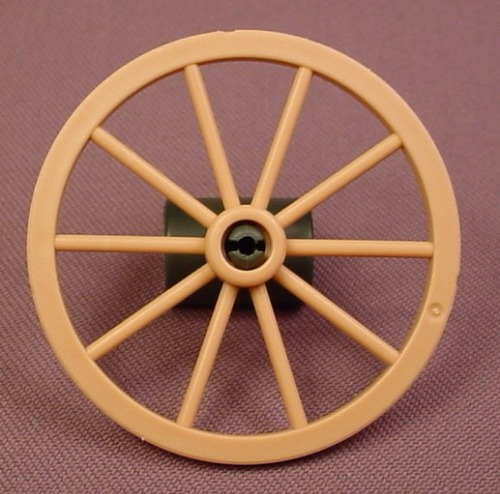 Playmobil Light Brown Wagon Wheel With 10 Spokes & A Green