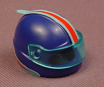 Playmobil Dark Blue Adult Size Racing Helmet With A Blue Visor And Red Racing Stripe Stickers, 3012