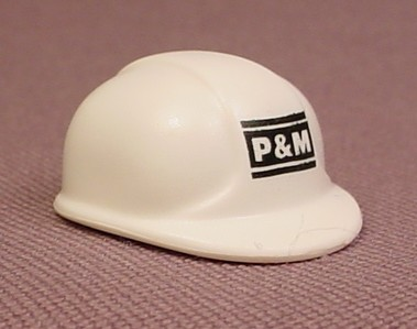 Playmobil White Adult Size Modern Construction Helmet With A P&M Logo, 5470 5469, 30 64 5413