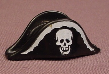 Playmobil Black Bicorne Pirate Hat With A White Skull & A Frill Pattern On The Front, 4548 5894