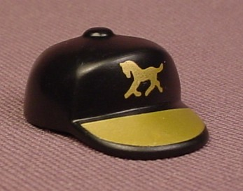 Playmobil Black Baseball Style Cap Or Hat With A Gold Bill & A Gold Horse Logo Printed On The Front