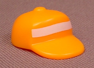 Playmobil Orange Baseball Style Cap Or Hat With A White Safety Stripe On The Front, 4315 4328 5010