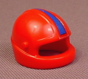 Playmobil Red Motorcycle Or Racing Helmet With A Blue Stripe And Pegs For A Visor, 30 07 4500