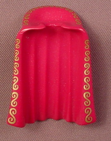 Playmobil Magenta Purple Full Length Cloak Or Cape With A Large Collar & Gold Swirl Trim, 3019 3997