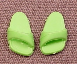 Playmobil Pair Of Bright Or Light Green Child Size Sandals Slippers Or Shoes With Angled Straps 4287