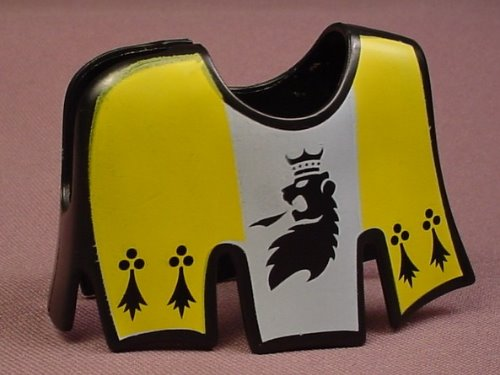 Playmobil Black Yellow & Gray Horse Coat With A Long Slashed Hem & A Griffin Design, 4871