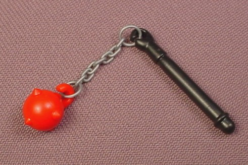 Playmobil Black Flail Weapon With The Chain & Red Mace Ball, 5203, Gray Plastic Chain
