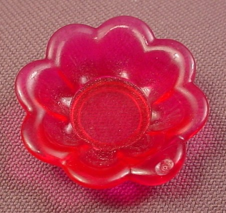 Playmobil Transparent Or Clear Dark Pink Flower Shaped Bowl, 3021 3031 4008 4056 4777 5063 5120