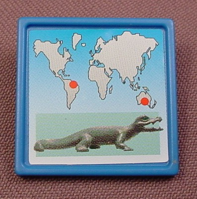 Playmobil Blue Square Sign With A Caiman Or Cayman Alligator Natural Habitat Sticker, 4463