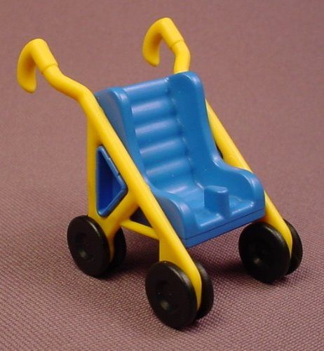 Playmobil Blue & Yellow Baby Stroller With Black Wheels, 3209, The Seat Is 30 23 5140