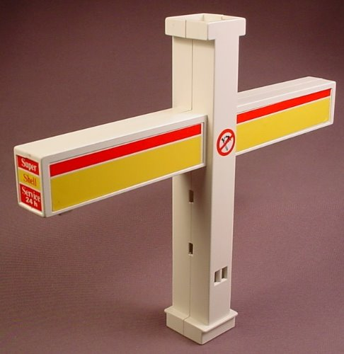 Playmobil White Gas Station Upright Post For A Roof With Cross Arms, 3437, 7 1/4 Inches High